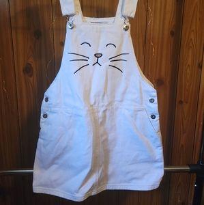 White Cat Overall Dress